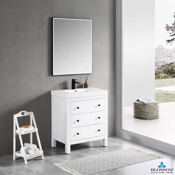 Blossom Vanity YORK 30-Inch Color Matte White Acrylic Sin