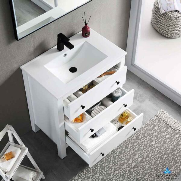Blossom Vanity YORK 30-Inch Color Matte White Ceramic Sink