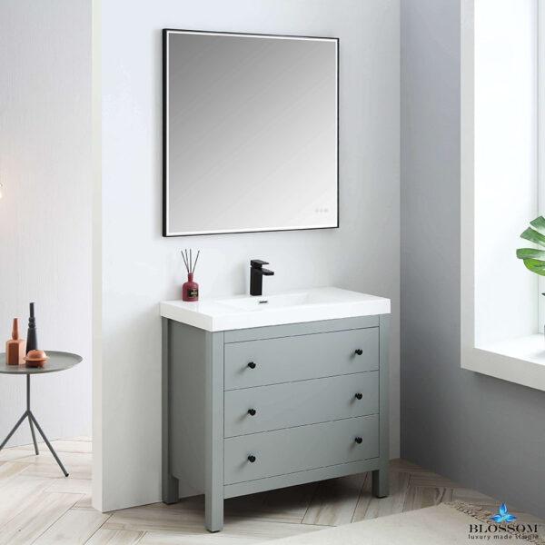 Blossom Vanity YORK 36 Inch Color Matte Grey-Acrylic Sink