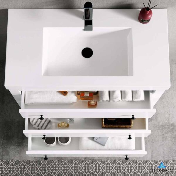 Blossom Vanity YORK 36-Inch Color Matte White Acrylic Sink