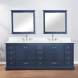 Lexora ✔️Dukes 84 Inch Double Vanity Color Navy Blue White Carrara Marble Top
