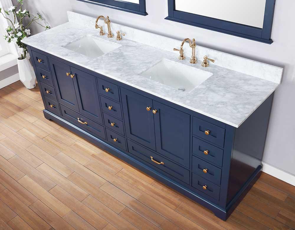 Lexora ✔️Dukes 84 Inch Double Vanity Color Navy Blue White Carrara Marble Top