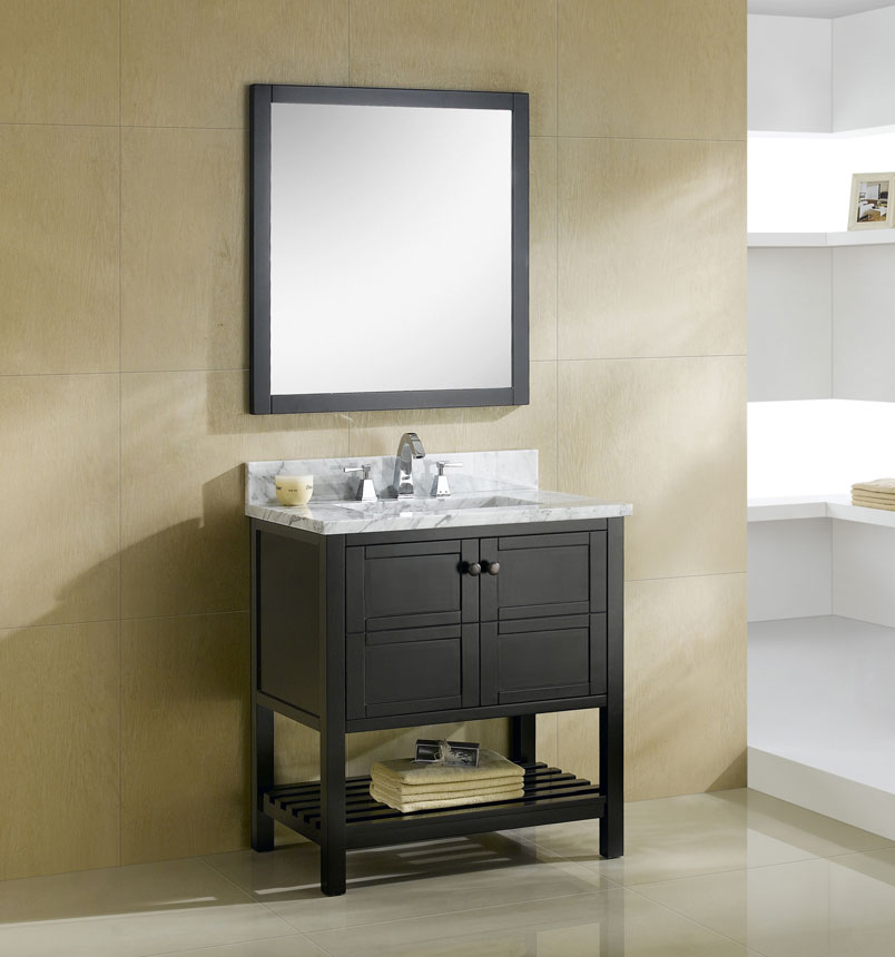 Dowell Vanity 30-Inch Model 005-30-03 Color Espresso Italian White Carrara Marble-Top_