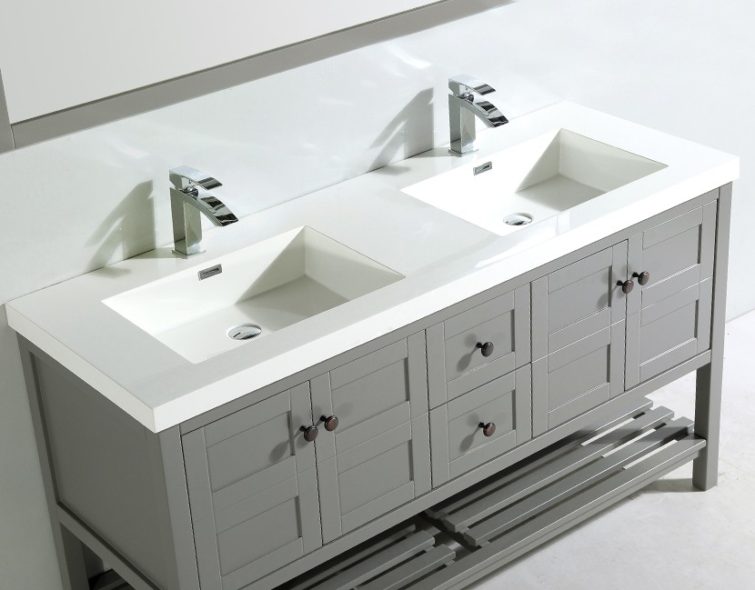 60 x 21 inch Double Topmount Bathroom Polymarble Basin