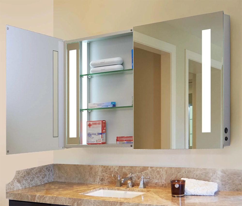 Undermount medicine cabinet with lighting
