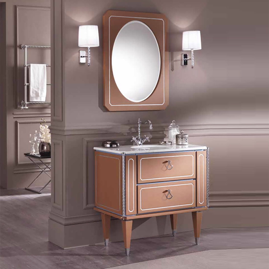 Mia Italia Petit 03 36 Inch Unique Bathroom Vanity Color Red Brown