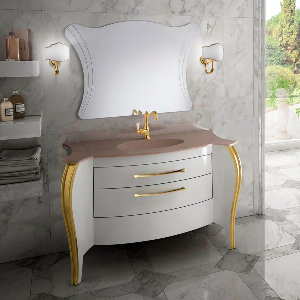 Mia Italia 48 Inch Belvedere 02 Finish Glossy White Unique Bathroom Vanity