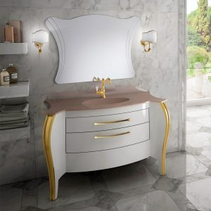 Mia Italia 48 Inch Belvedere 02 Finish Glossy White Unique Bathroom Vanity