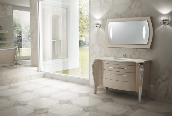Mia Italia 48 Inch Belvedere 03 Unique Bathroom Vanity Finish Glossy Turtledove