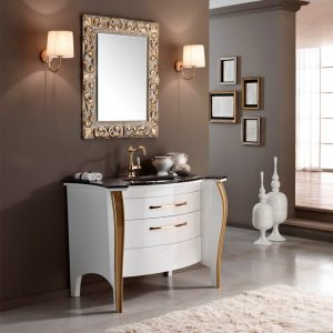 Mia Italia 48 Inch Belvedere 05 Bathroom Vanity Finish Glossy White Glass Brown Top_