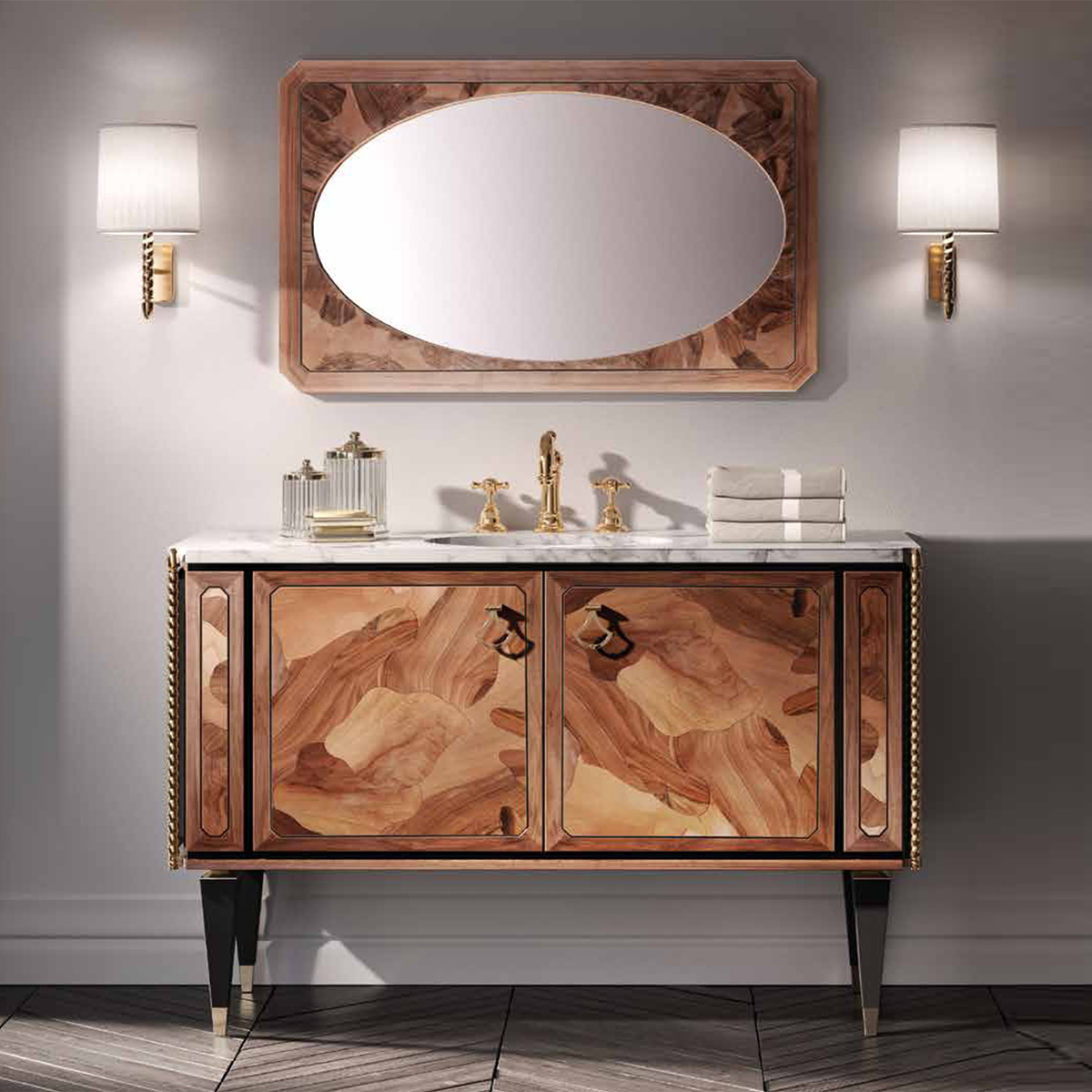 Mia Italia 48 Inch Petit 02 Finish Polish Wood Unique Bathroom Vanity