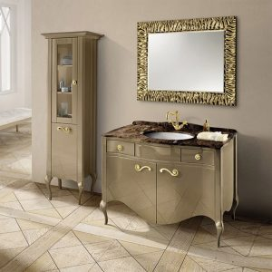 Mia Italia 48 Inch Prestige 01 Bathroom Vanity Finish Glossy Turtledove Marble Top Gold Handles