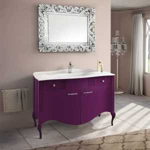 Mia Italia 48 Inch Prestige 02 Bathroom Vanity Finish Glossy Plum Glass White Top With Integrated Sink