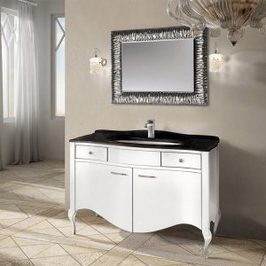 Mia Italia 48 Inch Prestige 04 Bathroom Vanity Finish Glossy White Marble Top
