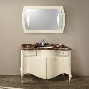 Mia Italia 48 Inch Prestige 05 Bathroom Vanity Finish Glossy Ivory Marble Top Chrome Handles