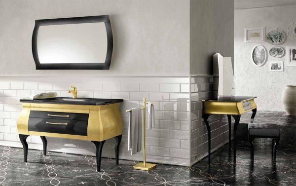 Mia Italia 51 Inch Diva 06 Unique Bathroom Vanity Finish Leaf Gold And Glossy Black