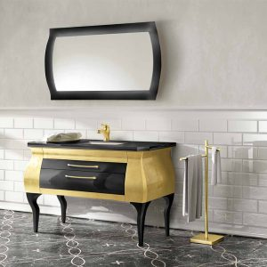 Mia Italia 51 Inch Diva 06 Unique Bathroom Vanity Finish Leaf Gold And Glossy Black