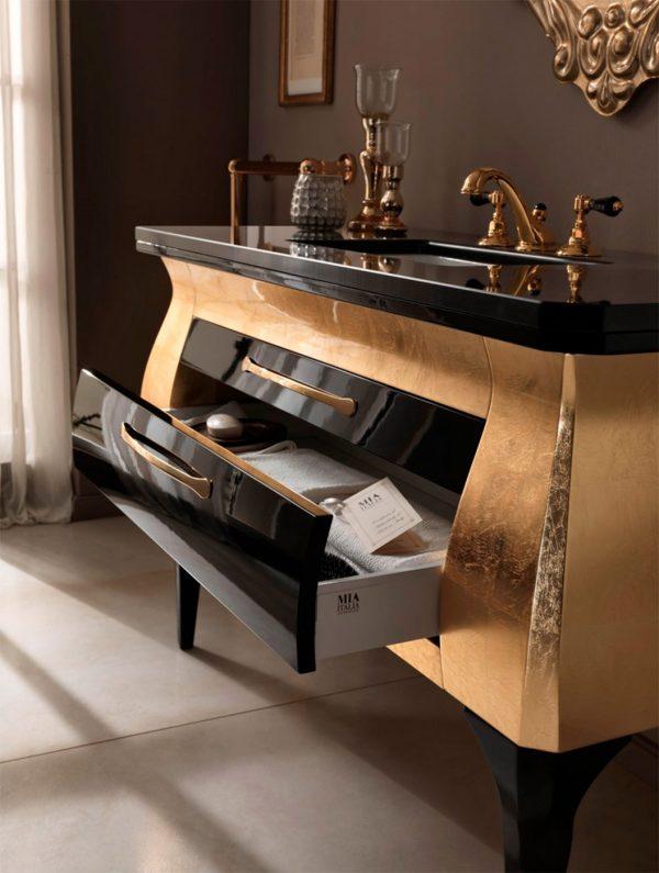 Mia Italia 51 Inch Diva 09 Unique Bathroom Vanity Finish Glossy Gold And Black