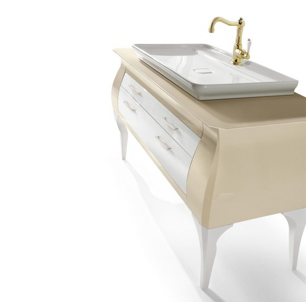 Mia Italia 60 Inch Diva 03 Bathroom Vanity Finish Glossy Cream And White