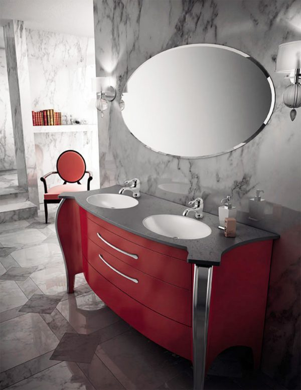 Mia Italia 63 Inch Belvedere 01 Finish Glossy Red Unique Double Bathroom Vanity