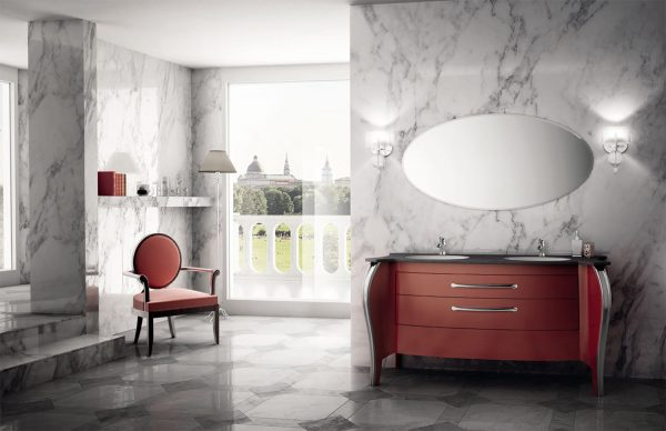 Mia Italia 63 Inch Belvedere 01 Finish Glossy Red Unique Double Bathroom Vanity
