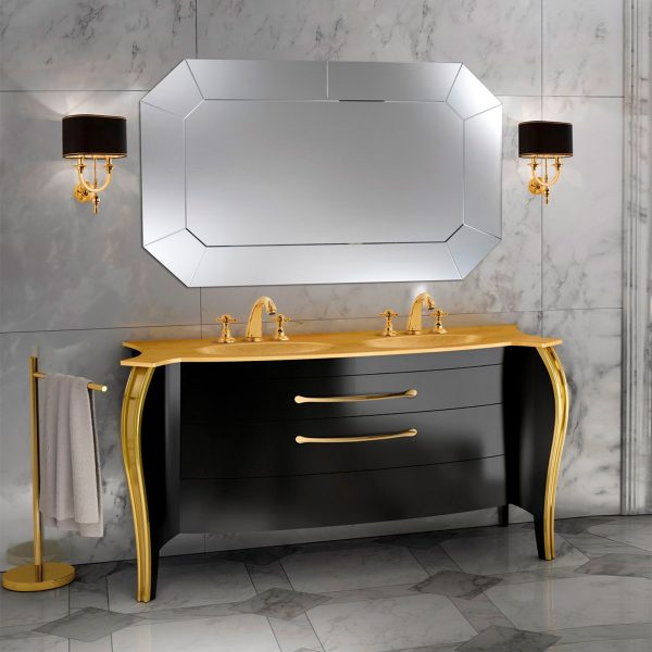 Mia Italia 63 Inch Belvedere 04 Finish Glossy Black Unique Double Bathroom Vanity