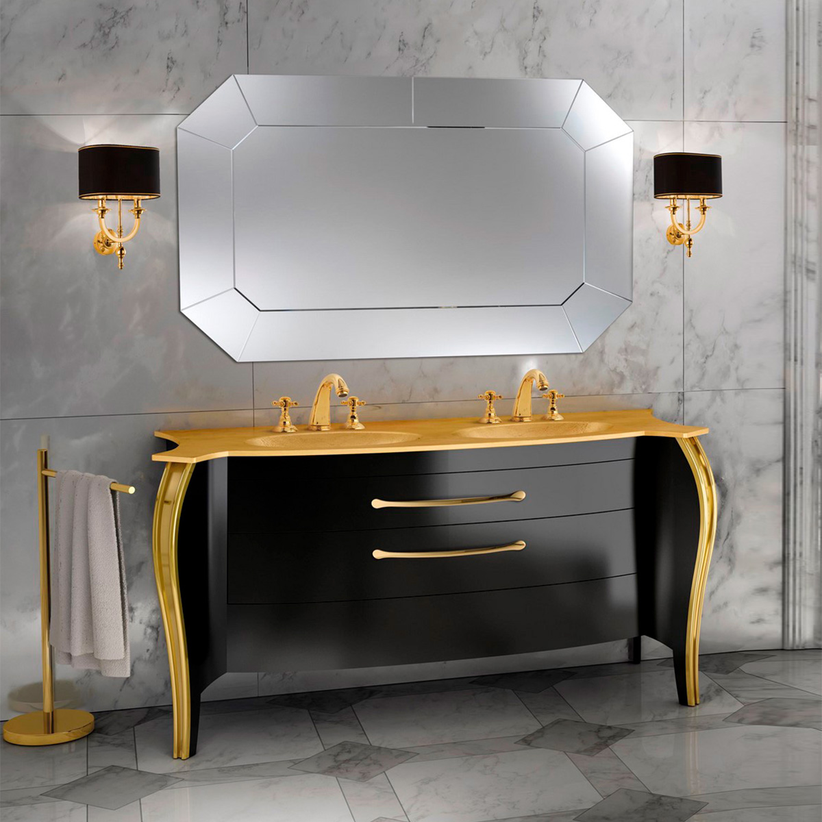 Mia Italia 63 Inch Belvedere 04 Finish Glossy Black Unique Double Bathroom Vanity