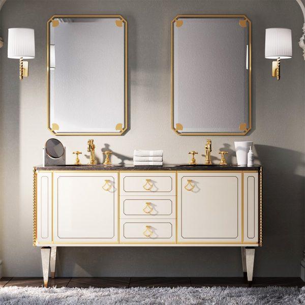 Mia Italia 63 Inch Petit 04 Finish Matte White Unique Double Bathroom Vanity