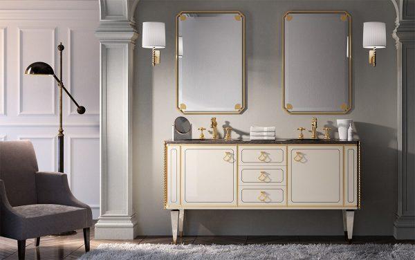 Mia Italia 63 Inch Petit 04 Finish Matte White Unique Double Bathroom Vanity_