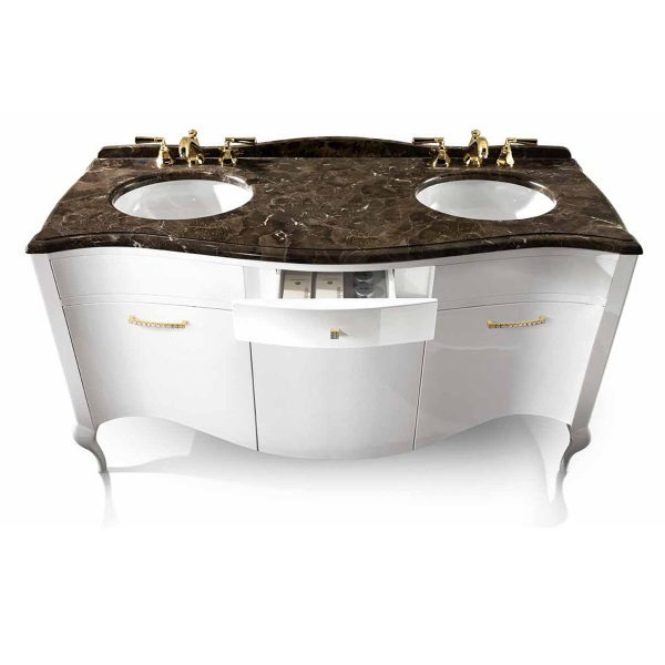 Mia Italia 63 Inch Prestige 03 Double Bathroom Vanity Finish Glossy White Marble Top