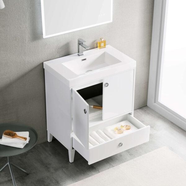 Blossom LYON 30 Inch Color Matte White Modern Bathroom Vanity