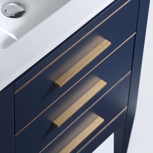 Dowell 24 Inch Matte Blue Bathroom Vanity Model 031 24 0615 Gold Handle