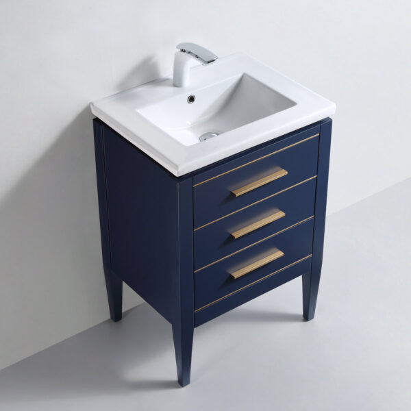 Dowell 24 Inch Matte Blue Bathroom Vanity Model 031 24 0615 Gold Handle