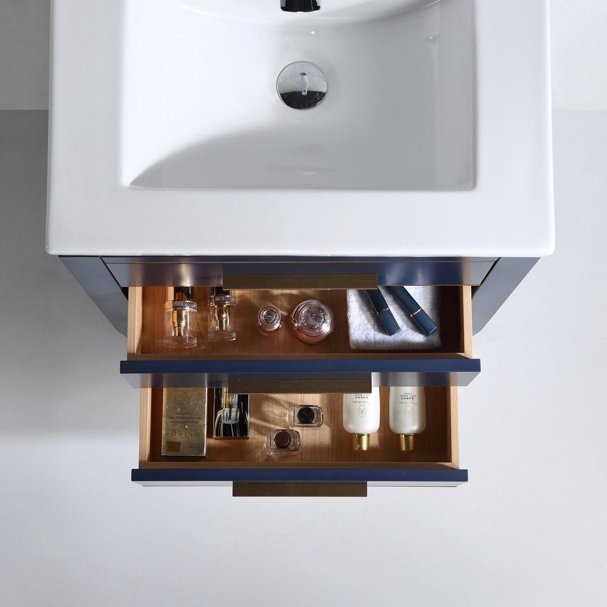 Dowell 24 Inch Bath Vanity Matte Blue Model 031 24 0615 Gold Handle