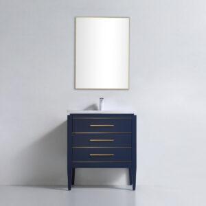 Dowell 30 Inch Bathroom Vanity Matte Blue 031 30 0615 Gold Handle
