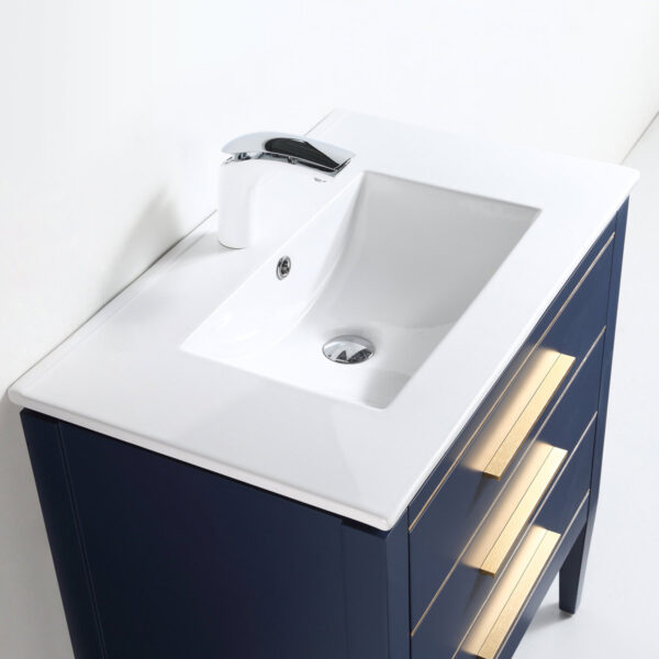 Dowell 30 Inch Bathroom Vanity Matte Blue 031 30 0615 Gold Handle