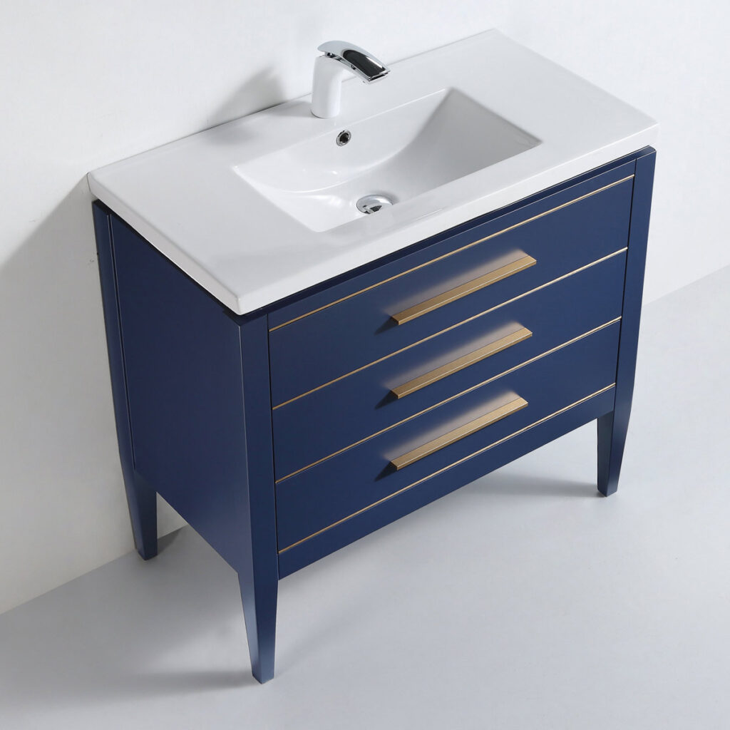 Dowell 36 Inch Bathroom Cabinet Matte Blue 031-36 0615 Gold Handle