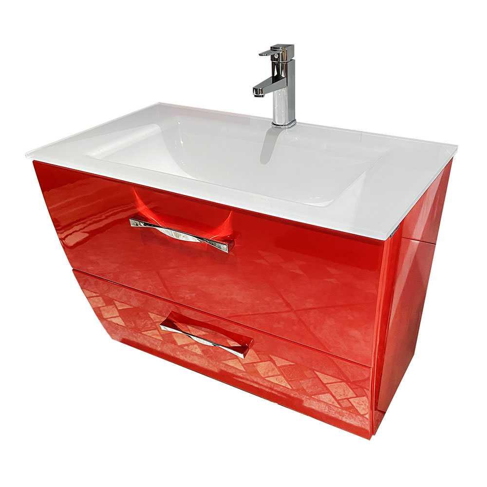 Socimobel 32 Inch London Glossy Red Bathroom Vanity Glass Sink
