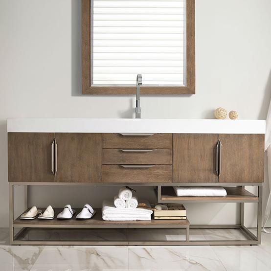 Storage shelves in vanity