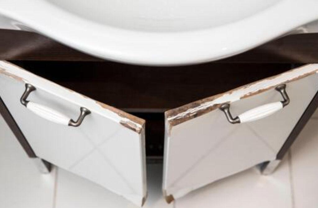 broken bathroom vanity