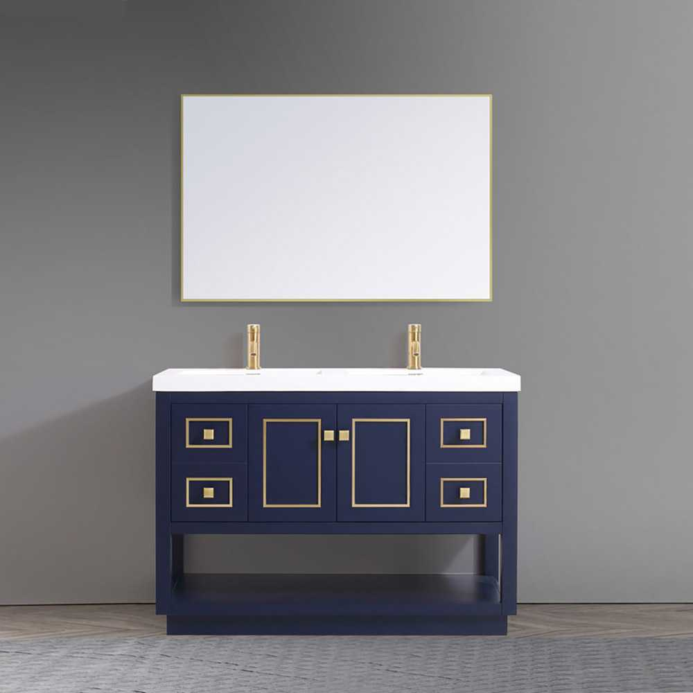 Dowell 48 Inch 2-Sink Bathroom Vanity 036 48 0615 Matte Blue And Gold Acrylic Top