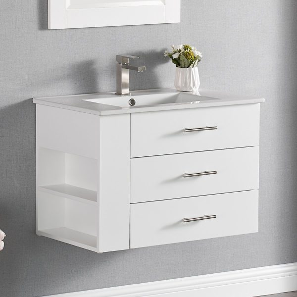1906-30L-01 30 Inch Bathroom Vanity Wall Mount Set Left Side Shelf Matte White 1