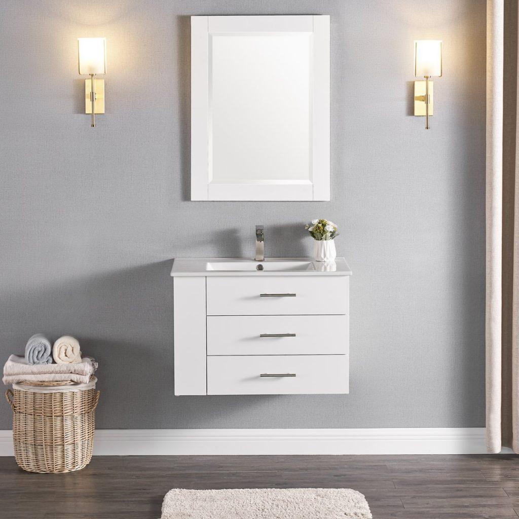 1906-30L-01 30 Inch Bathroom Vanity Wall Mount Set Left Side Shelf Matte White 2