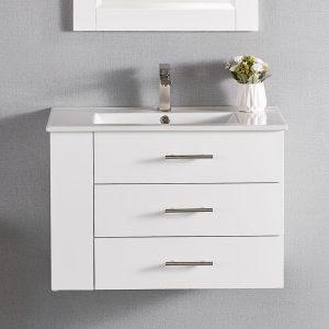 1906-30L-01 30 Inch Bathroom Vanity Wall Mount Set Left Side Shelf Matte White