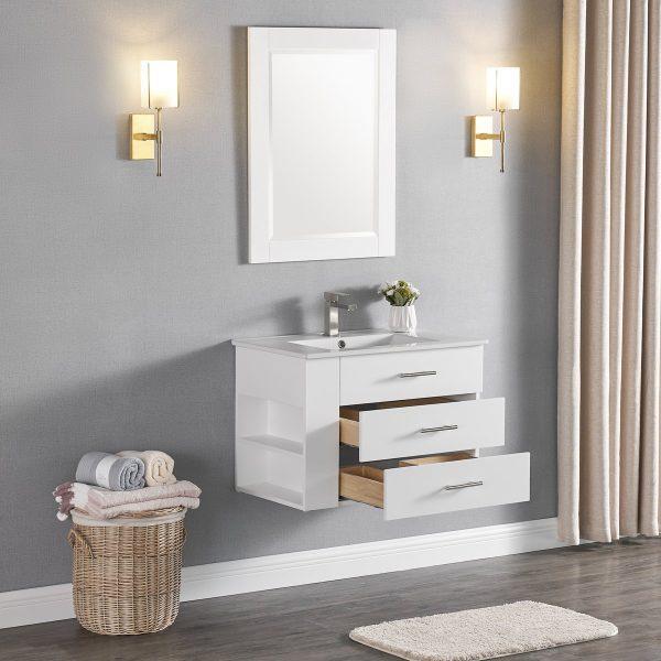 1906-30L-01 30 Inch Bathroom Vanity Wall Mount Set Left Side Shelf Matte White 4