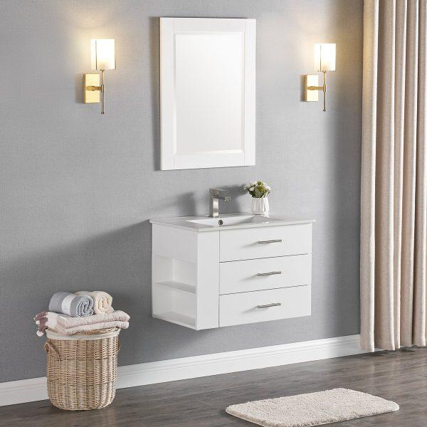 1906-30L-01 30 Inch Bathroom Vanity Wall Mount Set Left Side Shelf Matte White 5