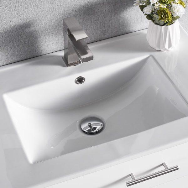 1906-30L-01 30 Inch Bathroom Vanity Wall Mount Set Left Side Shelf Matte White 6
