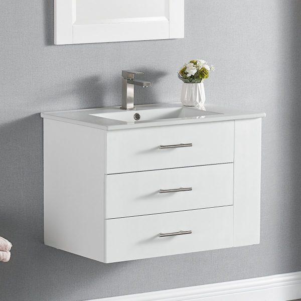 30 Inch Constantia 1906-30R-01 Floating Bathroom Vanity Right Side Shelf Color Matte White 1