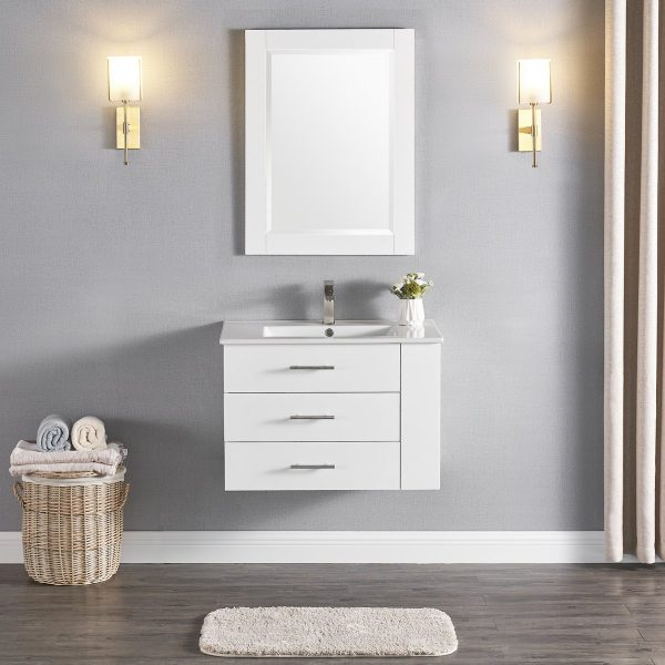 30 Inch Constantia 1906-30R-01 Floating Bathroom Vanity Right Side Shelf Color Matte White 2