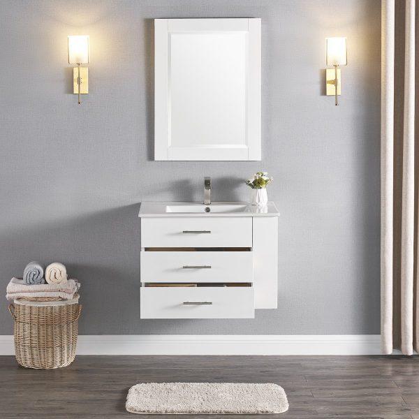 30 Inch Constantia 1906-30R-01 Floating Bathroom Vanity Right Side Shelf Color Matte White 3
